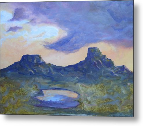 Landscape Metal Print featuring the painting The Rez After The Rain- Commision For Nigel And Laura by Ernie Scott- Dust Rising Studios