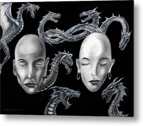 Dragons Metal Print featuring the drawing The Rise Of Conflict by Michael Cook