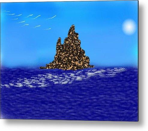 Sky.moon.birds.island.sea.reflection Moon On Water.rest.silence. Metal Print featuring the digital art The Solitude by Dr Loifer Vladimir