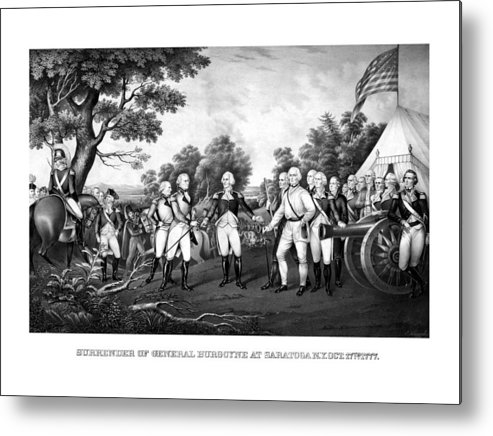 Revolutionary War Metal Print featuring the painting The Surrender Of General Burgoyne by War Is Hell Store