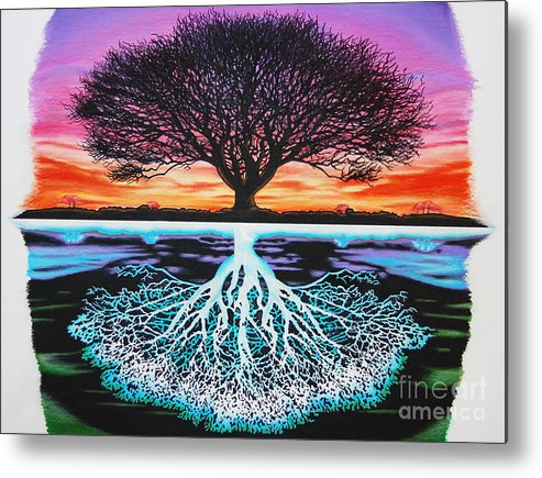 Tree Of Life Metal Print featuring the drawing Tree Of Life And Negative by Brian Schuster