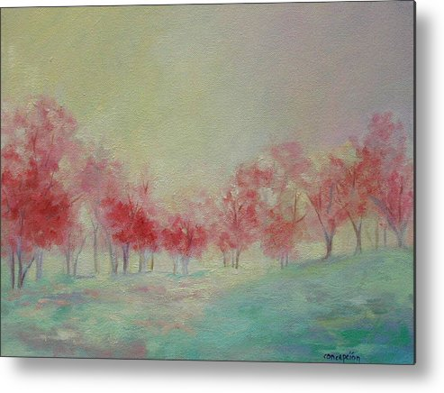 Impressionist Trees Metal Print featuring the painting Treeline by Ginger Concepcion