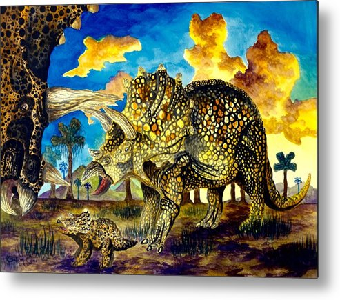 Triceratops Metal Print featuring the painting Triceratops by Gabriel Cajina