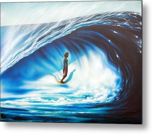 Surf Metal Print featuring the painting Tube Time by Ronnie Jackson