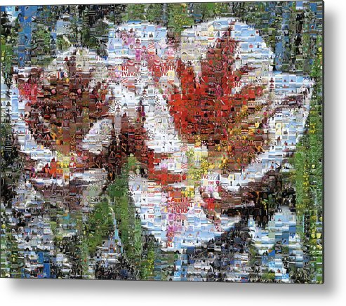 Lighthouse Metal Print featuring the photograph Tulips In Springtime Photomosaic by Michelle Calkins