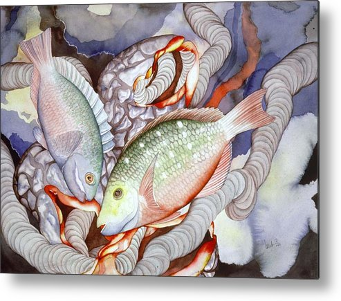 Sealife Metal Print featuring the painting Two Parrots by Liduine Bekman