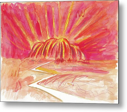 Abstract Metal Print featuring the painting Uluru Lightning by Wayne Monninger