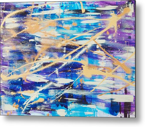 Abstract Metal Print featuring the painting Urban Footprint by Lauren Luna