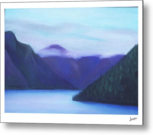 Landscape Metal Print featuring the painting Us Hwy 101 Lake Crescent Washington by Gary Jameson