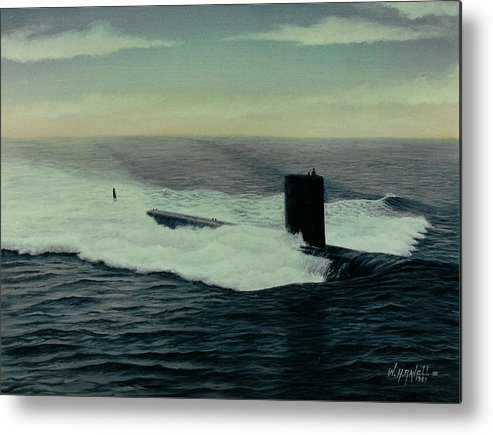 Submarine Metal Print featuring the painting Uss Topeka by William H RaVell III