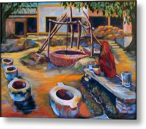 Village Metal Print featuring the painting Village Well by Art Nomad Sandra Hansen