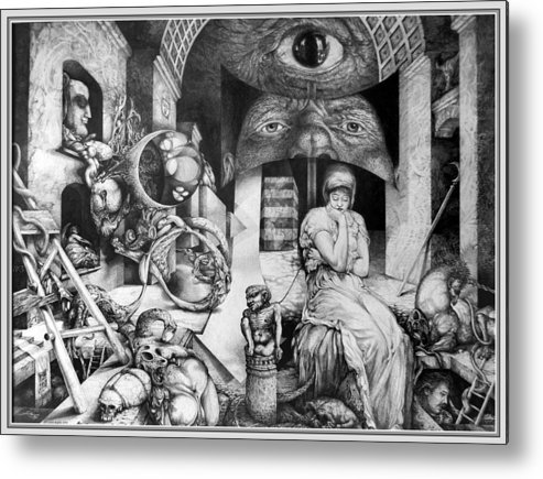 Surrealism Metal Print featuring the drawing Vindobona Altarpiece IIi - Snakes And Ladders by Otto Rapp