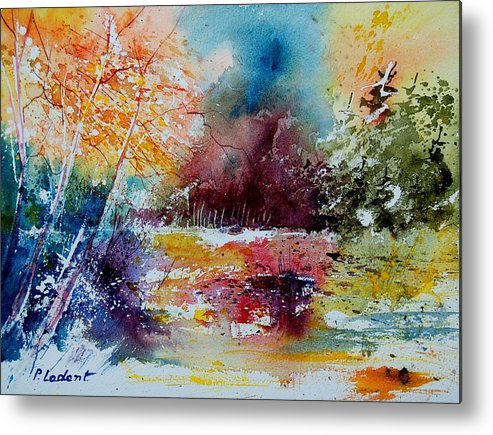 Pond Metal Print featuring the painting Watercolor 140908 by Pol Ledent