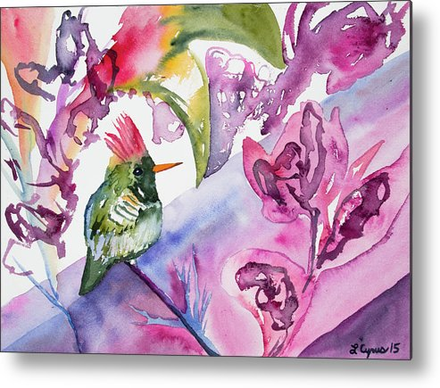 Art Metal Print featuring the painting Watercolor - Frilled Coquette Hummingbird With Colorful Background by Cascade Colors