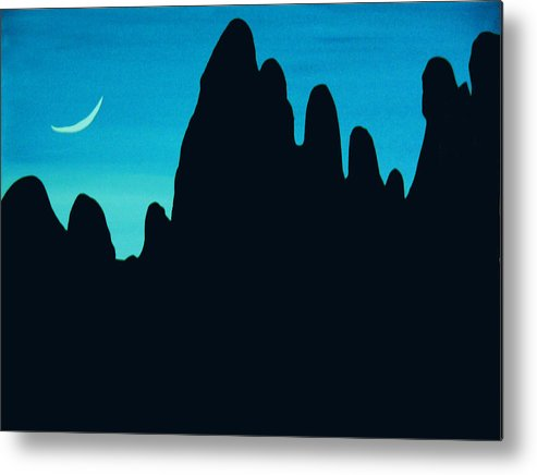 24 Inch Night Landscape Metal Print featuring the painting West by Linda Powell