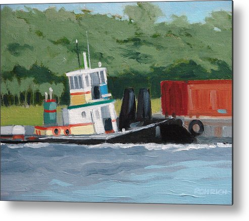 Work Boat Tug Waterscape Metal Print featuring the painting When Push Comes To Shove by Robert Rohrich