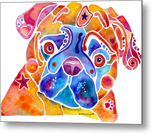 Pug Metal Print featuring the painting Whimsical Pug Dog by Jo Lynch