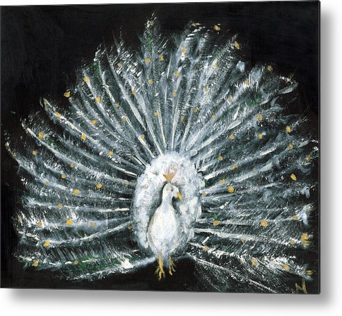 Peacock Metal Print featuring the painting White And Gold Peacock by Michela Akers