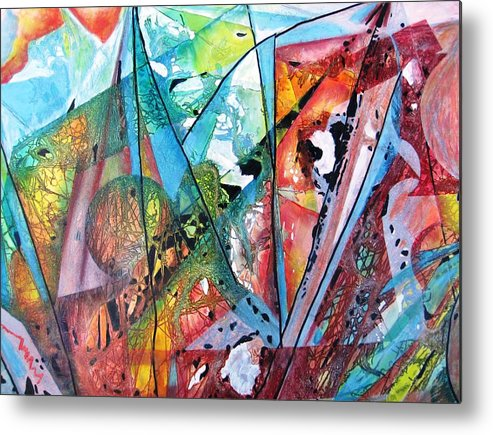 Abstract Metal Print featuring the painting Windswept by David Raderstorf