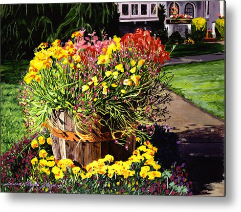 Gardens Metal Print featuring the painting Winebarrel Garden by David Lloyd Glover