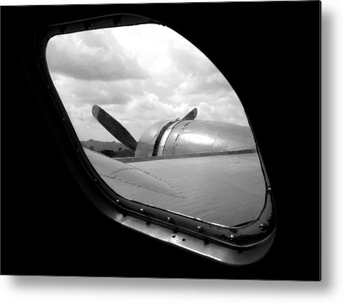 Airplane Metal Print featuring the photograph Wing And Window by Dan Holm