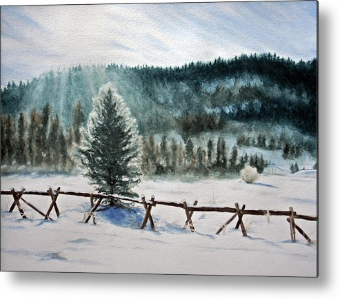 Landscape Metal Print featuring the painting Winter Glow by Monika Degan