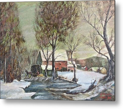 Landscape Painting Metal Print featuring the painting Winter Scene With Horse by Nicholas Minniti