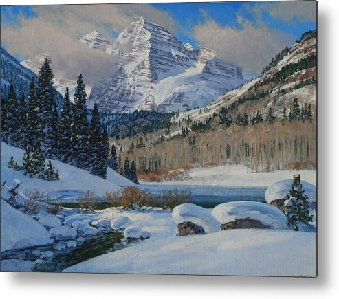 Landscape Metal Print featuring the painting Winter Willows by Lanny Grant