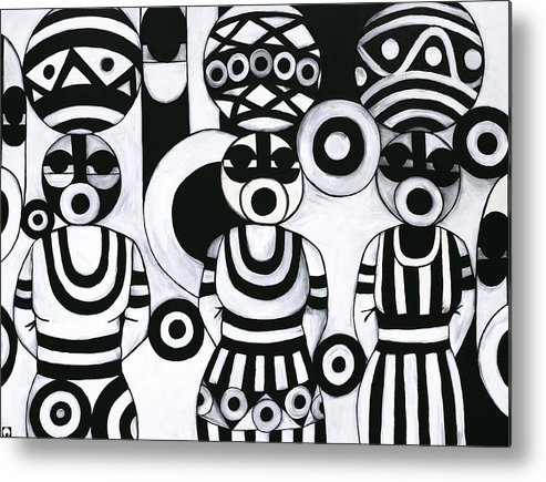 Cubism Metal Print featuring the painting Women With Calabashes IIi by Emeka Okoro