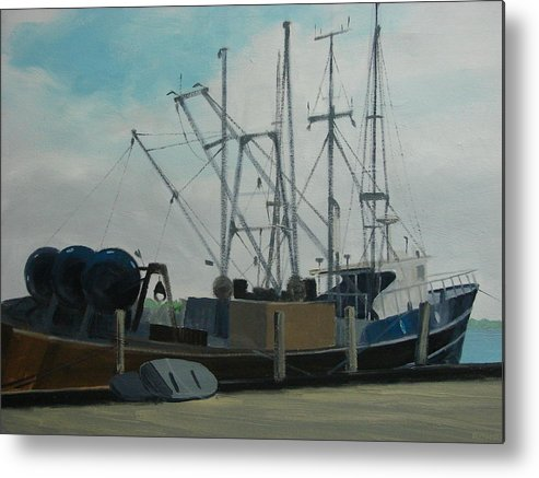 Boat Shrimpboat Work Boat Metal Print featuring the painting Work Boat At Rest by Robert Rohrich