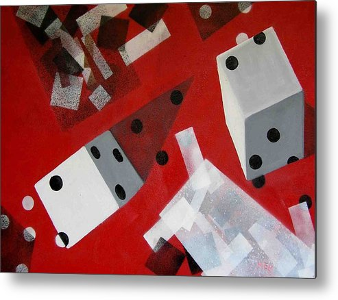 Dice Metal Print featuring the painting Wwhite Dice With Runaway Dots by Evguenia Men