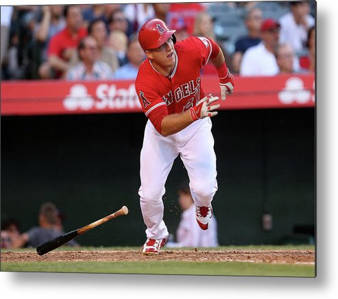 People Metal Print featuring the photograph New York Yankees V Los Angeles Angels 2 by Stephen Dunn