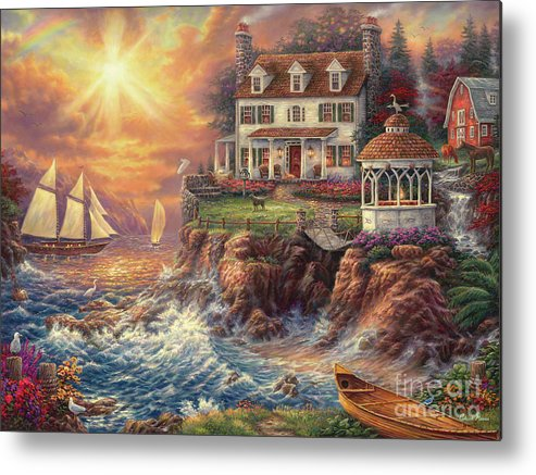 New England Metal Print featuring the painting Life Above The Fray by Chuck Pinson