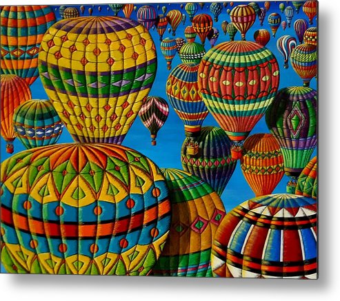 Hot-air Balloons Metal Print featuring the painting Flying Colours by Donna L Byers