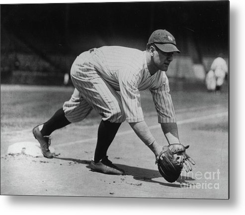 People Metal Print featuring the photograph Lou Gehrig At First by Transcendental Graphics