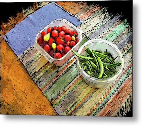 Digital Metal Print featuring the digital art Veggies by Arthur Fix
