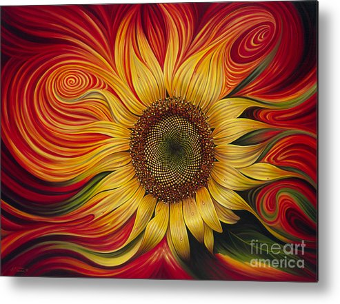 Sunflower Metal Print featuring the painting Girasol Dinamico by Ricardo Chavez-Mendez