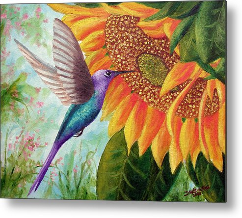 Hummingbird Metal Print featuring the painting Humming For Nectar by David G Paul