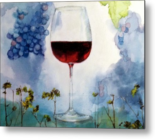 Wine Glass Metal Print featuring the painting Pinot From Vine To Glass II by Susan Richardson-Kaumans