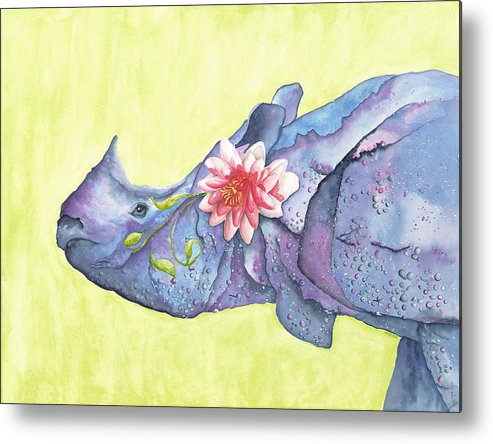 Rhino Metal Print featuring the painting Rhino Whimsy by Mary Ann Bobko