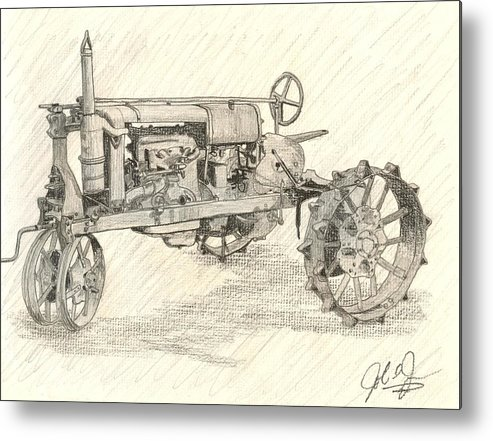Tractor Metal Print featuring the drawing The Tractor by John Jones