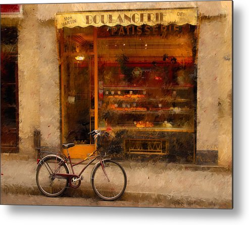 Paris France Metal Print featuring the photograph Boulangerie And Bike 2 by Mick Burkey