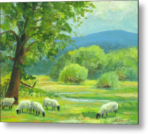 Nature Metal Print featuring the painting By Peaceful Waters by Michael Scherer