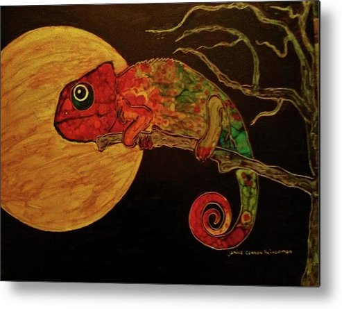 Full Moon Metal Print featuring the painting In The Still Of The Night by Janice Heinzelman