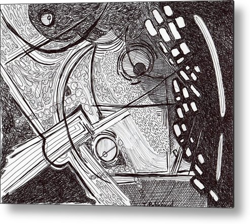 Drawing Metal Print featuring the drawing Minds Eye View by Todd Peterson