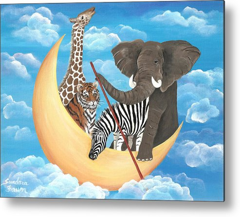 Elephant Metal Print featuring the painting Row Row Row Your Boat by Sundara Fawn