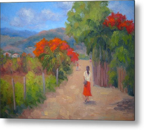 Honduras Metal Print featuring the painting Senorita In A Red Skirt by Bunny Oliver