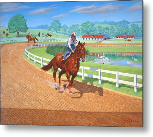 Western Artist Metal Print featuring the painting Spring Training by Howard Dubois