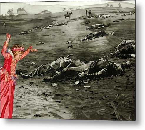 War Metal Print featuring the painting Too Late by Valerie Patterson