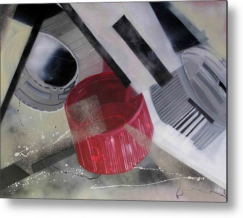 Metal Print featuring the painting Transformation Of Softdrink Caps by Evguenia Men